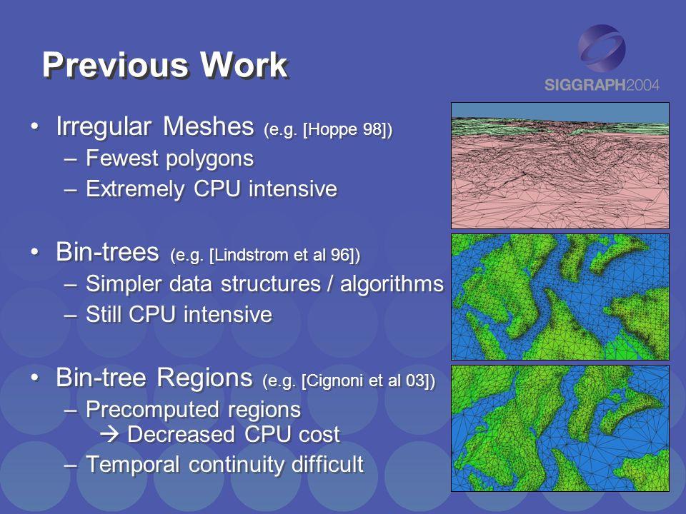 Previous Work Irregular Meshes (e.g. [Hoppe 98])